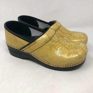 Dansko Snakeskin Yellow Professional Clogs 40
